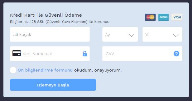 Blutv kredi kartı bilgileri formu